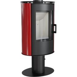 Piec wolnostojący KOZA AB S/N z wylotem spalin fi 150 z panelami kaflowymi - czerwony WYSYŁKA GRATIS