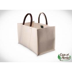 Ekologiczna torba transportowa FILC NATURALNY BIAŁY melanż plus skóra naturalna