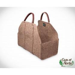 Ekologiczna torba na drewno FIL NATURALNY melanż naturalny plus skóra