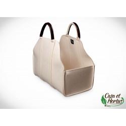 Ekologiczna torba na drewno FILC NATURALNY melanż biały plus skóra